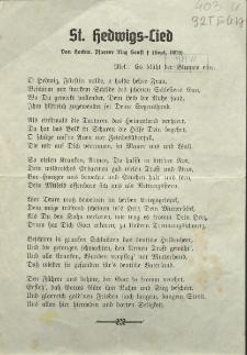 St. Hedwigs - Lied. Von hochw. Pfarrer Senft