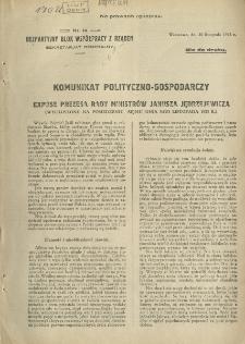 Komunikat polityczno-gospodarczy. Expose prezesa Rady Ministrów Janusza Jędrzejewicza.