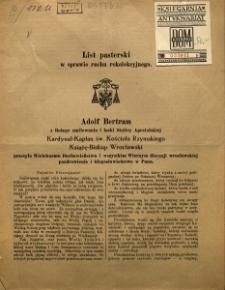 List pasterski w sprawie ruchu rekolekcyjnego [Inc:] Adolf Bertram z Bożego zmiłowania