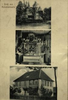 Chocianowice : kościół drewniany, ołtarz główny, plebania