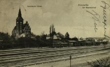 Choszczno : widok na dworzec towarowy i na kościół