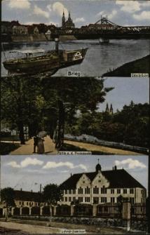 Brzeg : fragment panoramy miasta zza Odry z mostem, fragment Parku Nadodrzańskiego, budynek Królewskiego Seminarium Nauczycielskiego