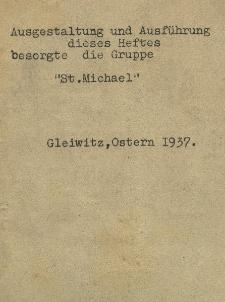 """Ausgestaltung und Ausführung dieses Heftes besorgte die Gruppe """"St. Michael"""""""