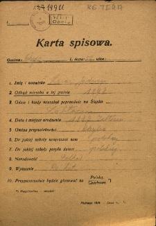 Karta spisowa. Treść: m.in. imię i nazwisko, data i miejsce urodzenia, gmina przynależności, narodowość, wyznanie