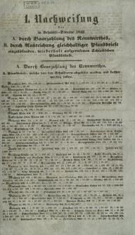 Nachweisung der im Johannis-Termine 1843 A. durch Baarzahlung des Rennwerthes, B. durch Ausreichung gleichhaltiger Pfandbriefe einzulösenden, wiederholt aufgerufenen Schlesischen Pfandbriefe