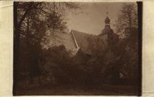 Gołkowice : widok na wieżę kościółka drewnianego