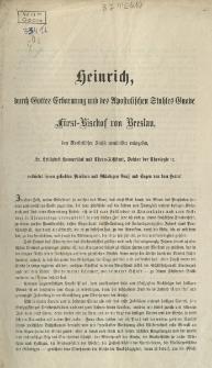 Heinrich, durch Gottes Erbarmung und des Apostolischen Stuhles Gnade