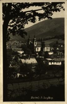 Hejnice : panorama miejscowosci z widokiem na kościół pw. Nawiedzenia Najświętszej Marii Panny