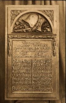 Sobótka : tablica ku czci poległych w czasie I Wojny Światowej
