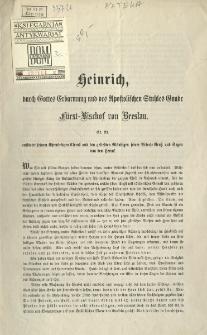 Heinrich... Bischof von Breslau