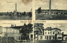 Kolonowskie : zabudowania fabryczne, budynek magazynowy J. Krebsa, dworzec kolejowy