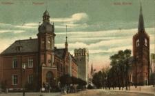 Grodków : budynek poczty oraz kościół pw. św. Katarzyny