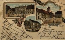 """Byczyna : hotel """"Pod Złotym Orłem"""", północna pierzeja rynku z kościołem ewangelickim oraz szkoła"""