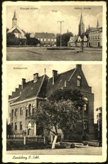 Gorzów Śląski : kościoły ewangelicki i katolicki, rynek, budynek sądu