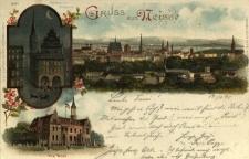 Nysa : gmach starej wagi z wieżą ratuszową, gmach poczty oraz panoramiczny fragment miasta od strony południowej