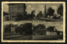 Popielów : sklep K. Gawlitty, kościół NMP Królowej Aniołów, szkoła, dworzec kolejow