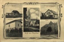 Popielów : dworzec kolejowy, budynek nadleśnictwa, kościół, sklep, szkoła