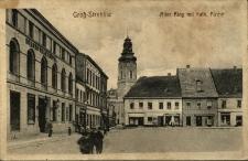 Strzelce Opolskie : stary rynek z kościołem katolickim