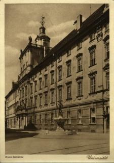 Wrocław : fontanna z szermierzem przed gmachem Uniwersytetu