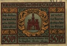 Kluczbork : [awers:] Kreuzburg in Oberschlesien. 50Pf [rewers:] Panorama miasta z postaciami mężczyzn z kosą i młotem