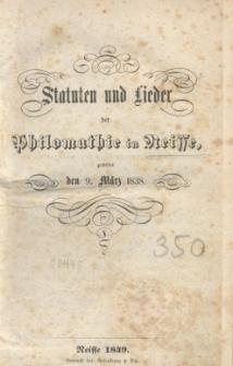 Statuten und Lieder der Philomathie in Neisse, gestiftet den 9. März 1838