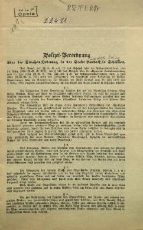 Polizei-Verordnung über die Strassen-Ordnung in der Stadt Landeck in Schlesien