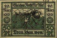 Głogówek : [awers:] Schlesiches Recht für Alle. Frau, schau, wem. 50 Pf. [rewers:] Fünfzig - Pfennig - Schein d. Stadt Oberglogau O.S.