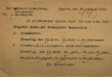Namysłów : An der Magistrat in Namslau [Inc.:] Im Städtkreise Oppeln sind für das Jahr 1927 folgende Kram-und Viehmärkte vergesehen. [Podpis:] Dr.Neugebauer