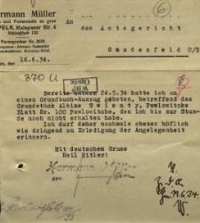 Pawłowiczki : pismo do sądu w sprawie A. Swienty [Podpis:] Hermann Müller