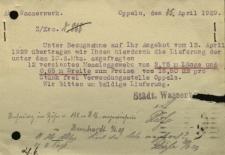 Opole : Städwerke Oppeln [Inc.:] Wir haben von dem Inhalt Ihrer obigen Postkarte Kenntnis...