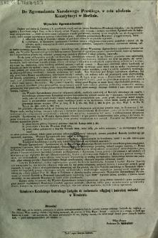 Do Zgromadzenia Narodowego Pruskiego, w celu ułożenia Konstytucyi w Berlinie [Inc.:] Wysokie Zgromadzenie!... [Expl:] Członkowie Katolickiego Centralnego Związku do zachowania religijnej i kościelnej wolności w Wrocławiu [Podpis:] Wice-Prezes Professor Dr. Gitzler