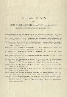 Verzeichnis der vom Schlesischen Altertumsverein herausgegebenen Druckschriften