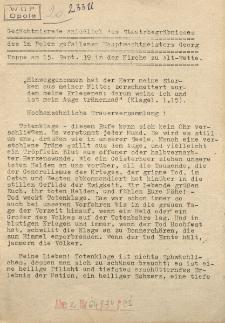 Gedächtnisrede anläßlich des Staatsbegräbnisses des in Polen gefallenen Hauptwachtmeisters Georg Poppe am 15. Sept. 39 in der Kirche zu Alt-Wette