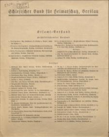 Schlesischer Bund für Heimatschutz, Breslau. Gesamt=Vorstand