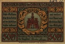 Kluczbork : [awers:] Kreuzburg in Oberschlesien 50 Pf [rewers:] Widok ogólny miasta, po bokach postaci z karabinami 50Pf