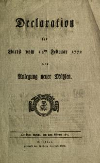 Declaration des Edicts vom 14ten februar 1772 von Anlegung neuer Mühlen [Podpis:] Friedrich Wilhelm