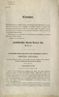 Circulare. Sanctissimi Domini Nostri pii Divina providenta Papae IX Epistola Encyclica [Podpis:] Pius PP.IX.