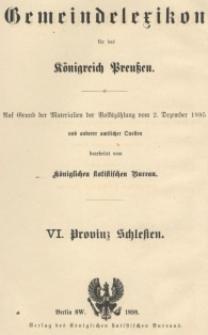 Gemeindelexikon für die Provinz Schlesien : auf Grund der Materialien der Volkszählung vom 2. Dezember 1895 und anderer amtlicher Quellen