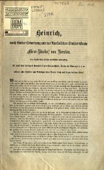 Heinrich [Inc:] Unser heiligen Vater Pius IX...