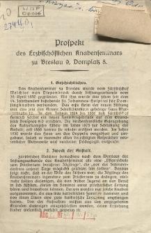 Prospekt des Erzbischöflichen Knabenseminars zu Breslau 9, Domplatz 8