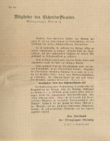 An die Mitglieder des Eichendorffbundes. Ortsgruppe Gleiwitz