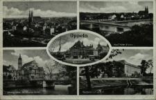 Oppeln : Bahnhof, Adolf Hitler Brücke, Mühlgraben mit Evang. Kirche, Reichsbahndirektion