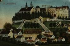 Góra Świętej Anny : pozdrowienia z Góry Św. Anny – panorama wsi z widokiem na klasztor