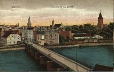 Oderpartie mit Schloss [prawobrzeżna część miasta od zachodu z Ostrówkiem i fragmentem wyspy Pasieka. Na pierwszym planie most piastowski jeszcze na siedmiu filarach.Po lewej stronie mostu budynek składu żelaza sprzed pożaru]