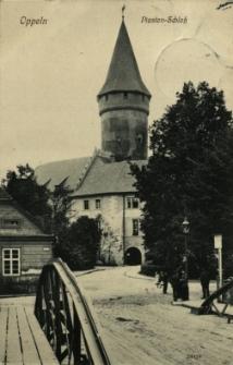 Opole : Piasten - Schloss [widok na most i skrzydło zachodnie z bramą wjazdową do zamku]