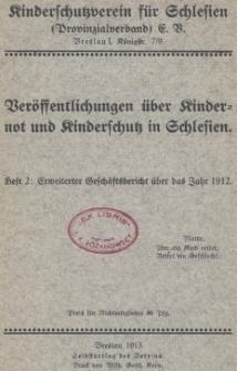 Veröffentlichungen über Kindernot und Kinderschutz in Schlesien, H. 2 : Erweiterter Geschäftsbericht über das Jahr 1912