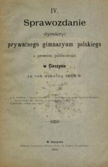 V Sprawozdanie dyrekcji prywatnego gimnazjum polskiego z prawem publiczności w Cieszynie za rok szkolny 1898/9