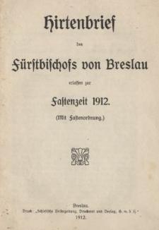 Hirtenbrief des Fürstbischofs von Breslau erlassen zur Fastenzeit 1912 (mit Fastenordnung)