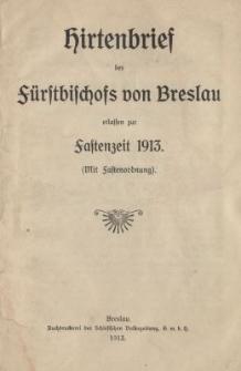 Hirtenbrief des Fürstbischofs von Breslau erlassen zur Fastenzeit 1913 (mit Fastenordnung)