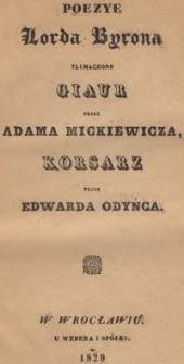 Poezye Lorda Byrona tłumaczone : Giaur przez Adama Mickiewicza, Korsarz przez Edwarda Odyńca